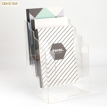 Wall Mounted Brochure Stand Clear Acrylic Magazine Display Holder