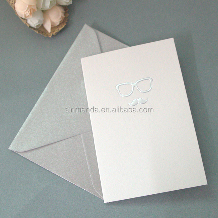 OEM A4 size foil stamp birthday card paper folding greeting card