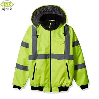 Class 3 Winter Security Fleece Liner Hi-Viz Yellow Reflector Bomber Jackets