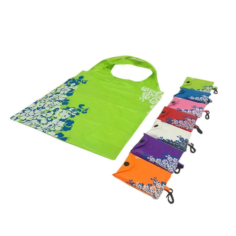 Cinhent Bag 7 PCS Different Color Reusable Nylon Eco Foldable Handbag, 38 × 58 CM, Travel Eco Friendly Foods Shopping Bag, Women Men Carry Storage Tote, Lightweight Grocery Bags