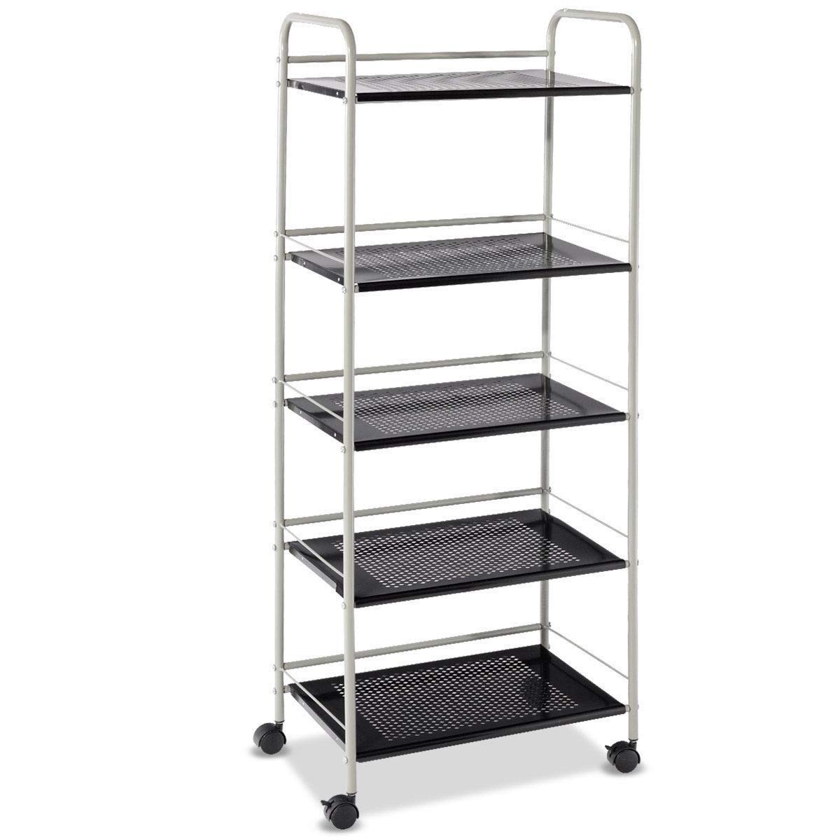 Lapha' 5 Tier Shelf Garage Table Shelves Rust-Resistant and Heavy-Duty Steel Rolling Serving Cart Storage Bar Kitchen Display Cart Side Table Rack Kitchen Office Serving Organizer Office Kitchen