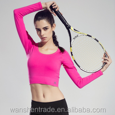 Top Quality Sports Clothing Long Sleeve Yoga T Shirts Quick Dry Breathable Women Sports Fitness T Shirts