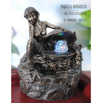 Indoor Mini Tabletop Water Fountain Decorative Mermaid Fountain ...