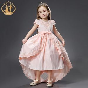 2019 New High Quality Bow Embroidery Beading Long Tail Design Kids Party Dresses