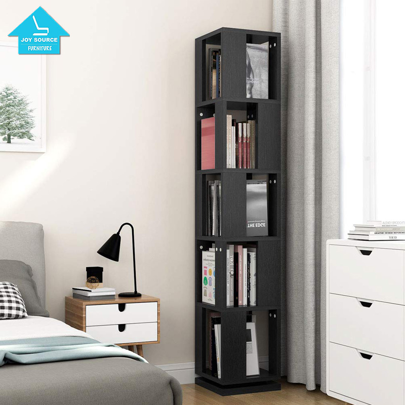Modern Corner Rotating Bookshelf Bookcase Black For Home Office - Buy  Bookcases Library L-shaped Wooden Bookcase With Ladder Oak,Bookcase Wood