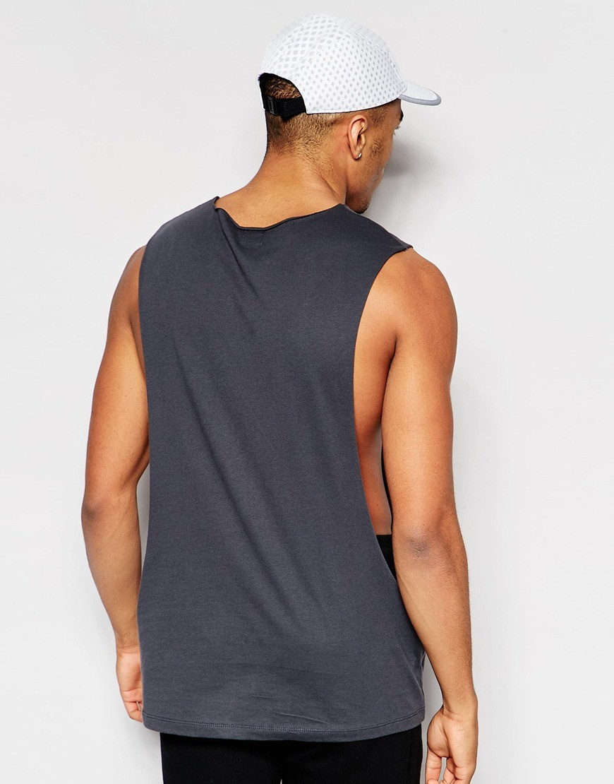 255b0da61a fitness wear men open side tank top blank drop armhole tank top low cut  tank tops