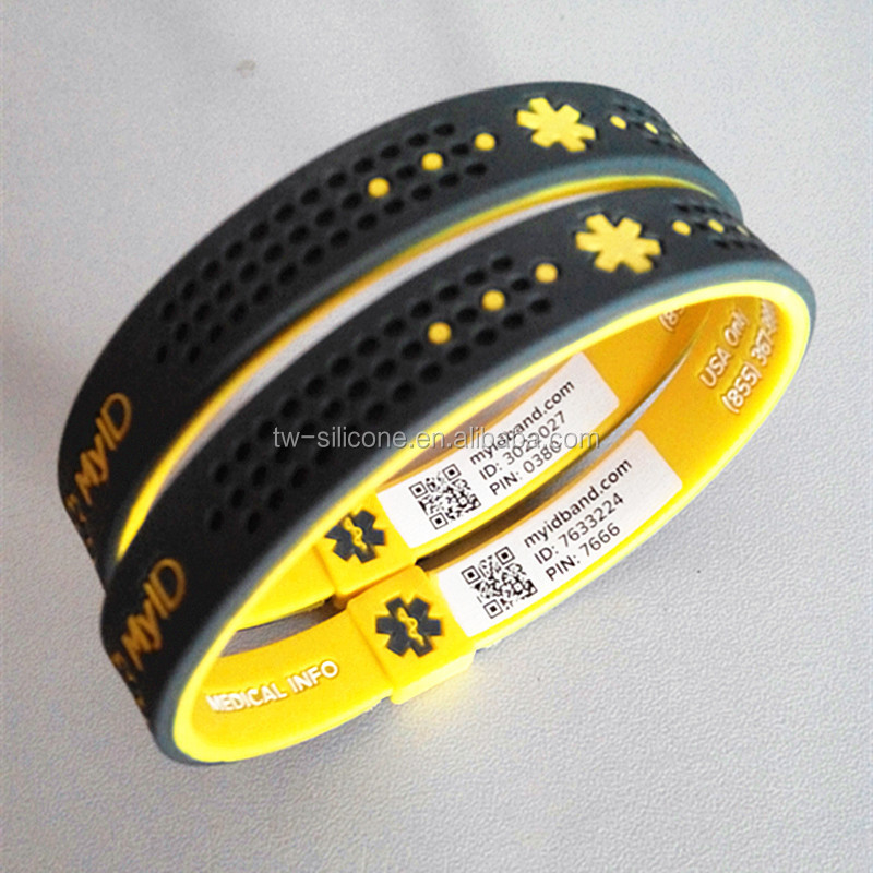 Unique QR code silicone id wristband with phone number