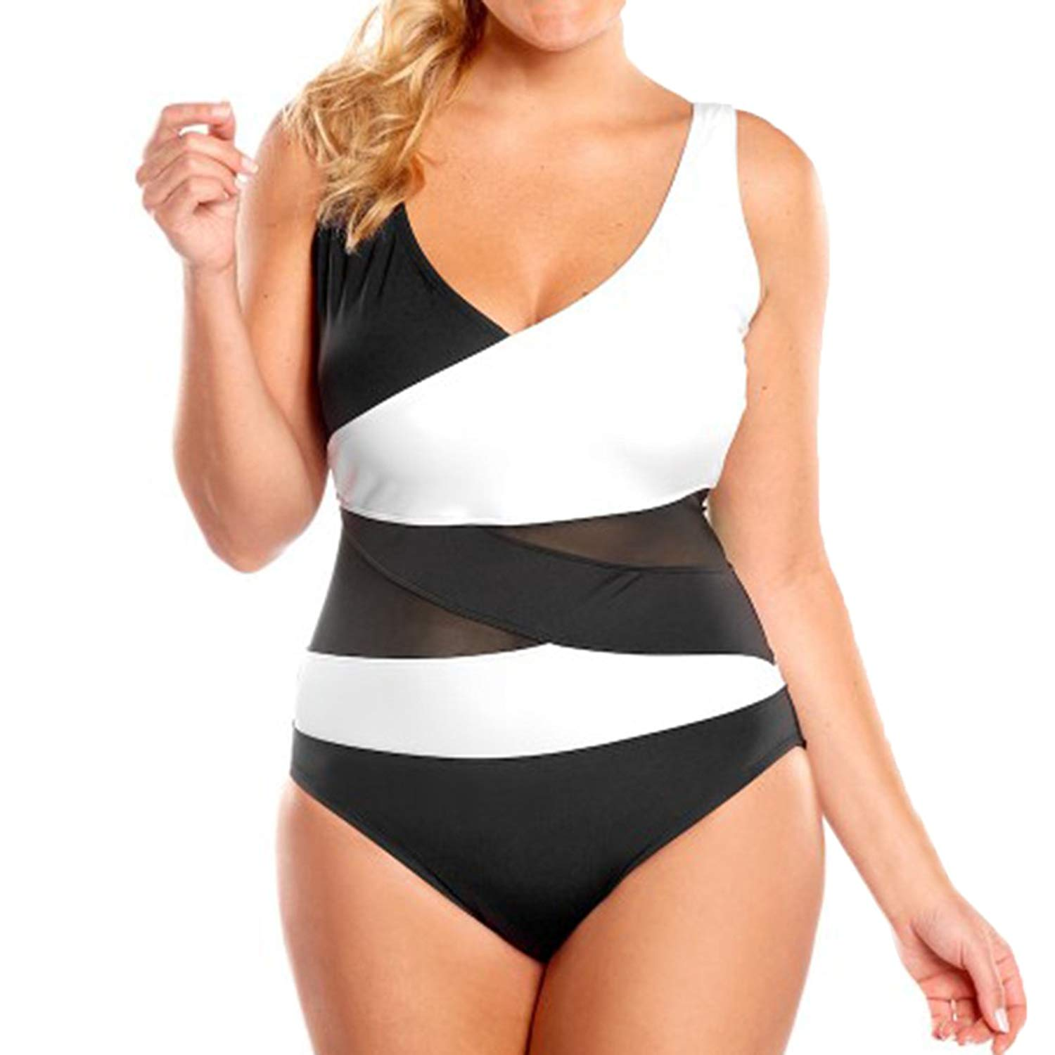 871ebdb5c9 Get Quotations · LAPAYA Women s One Piece Bathing Suit Mesh Splicing Tank  Backless Mailot Swimsuit