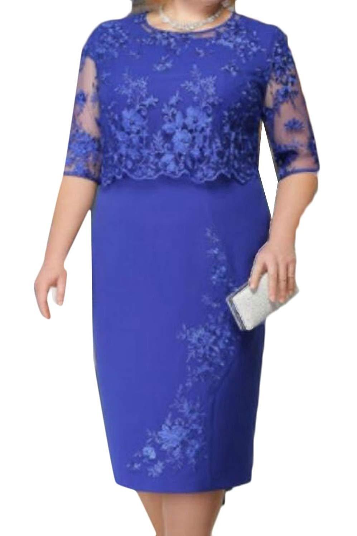 WSPLYSPJY Women's Lace Sexy Plus Size Bodycon Midi Party Dress