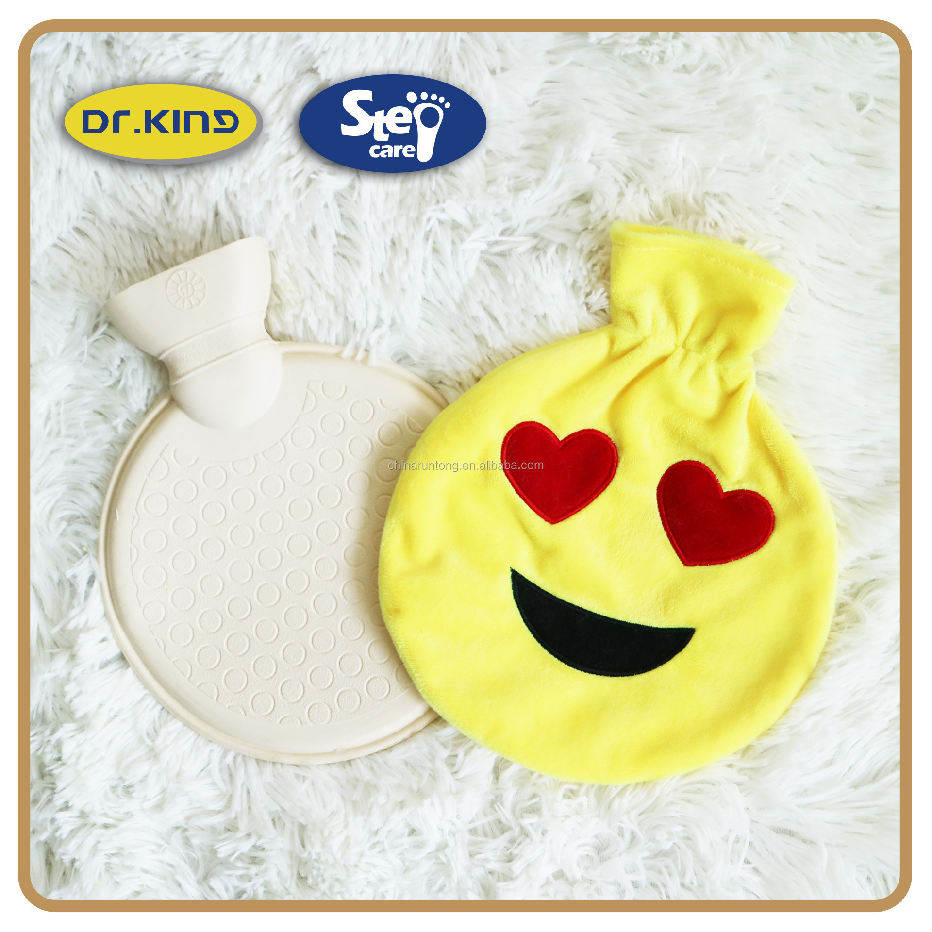 China cream rubber round hot water bottle wholesale
