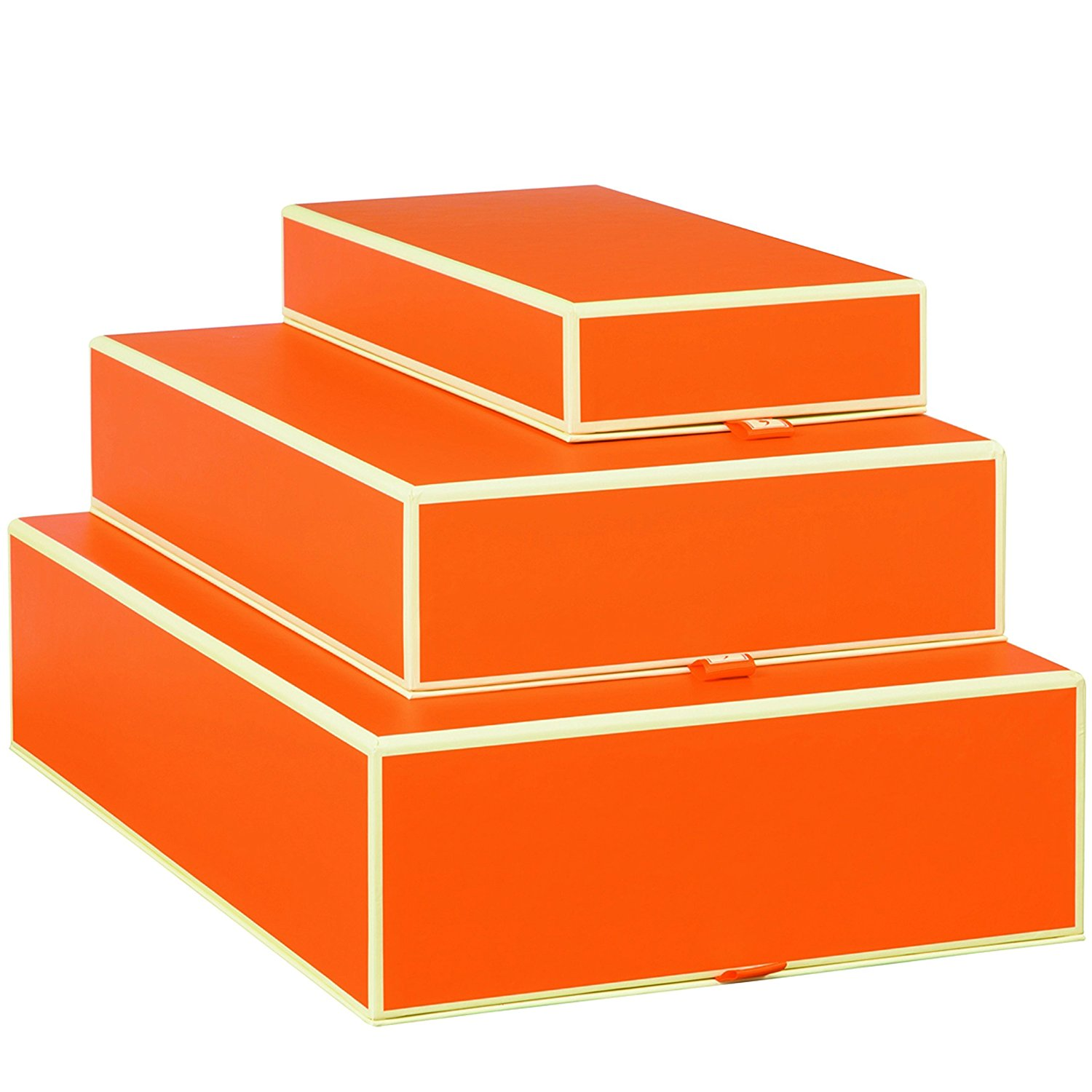 Set of 3 rectangular boxes orange +++ STORAGE- or GIFT BOXES +++ Quality made by Semikolon