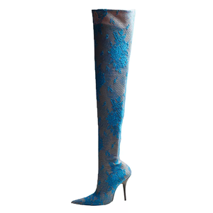 51c07316057 Autumn winter women sexy thin leg boots high heels stiletto embroidered  print shoes for woman