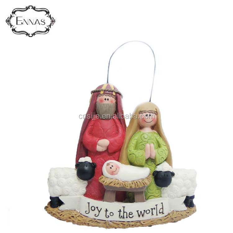 Orn-joy to the World Holy Family  Resin Figure Decoration Home