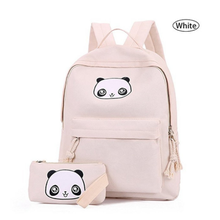 preppy style white panda school backpack for college