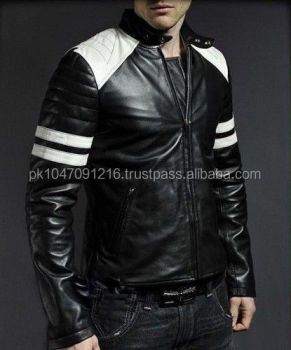 100% Genuine Lambskin Mens Leather Blazer Biker Bomber Jacket ...