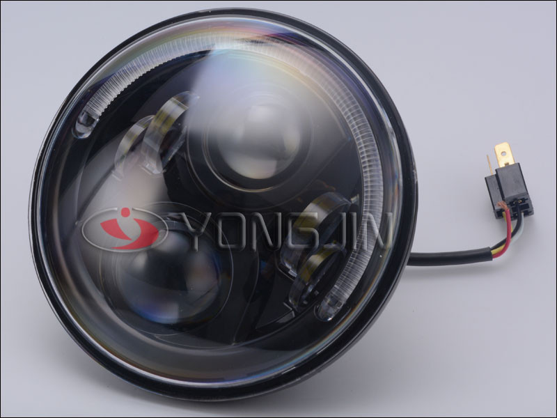 LED auto headlight with semi-ring angle-eye for Jeep wrangler !!7' inch big eye with seal beam !
