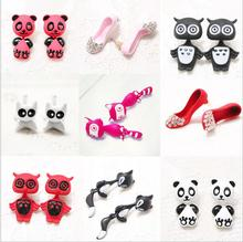 factory wholesale cute animal shape drop earring black cat korean Fashion Fox Panda Cartoon Animal Polymer Clay Earrings women