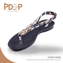 Chinese wholesale girls no heel flat simple thong ladies fancy sandal