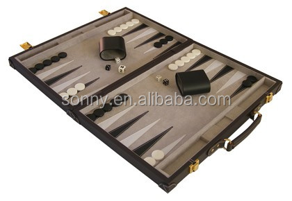 "18"" Backgammon in Leather Box"