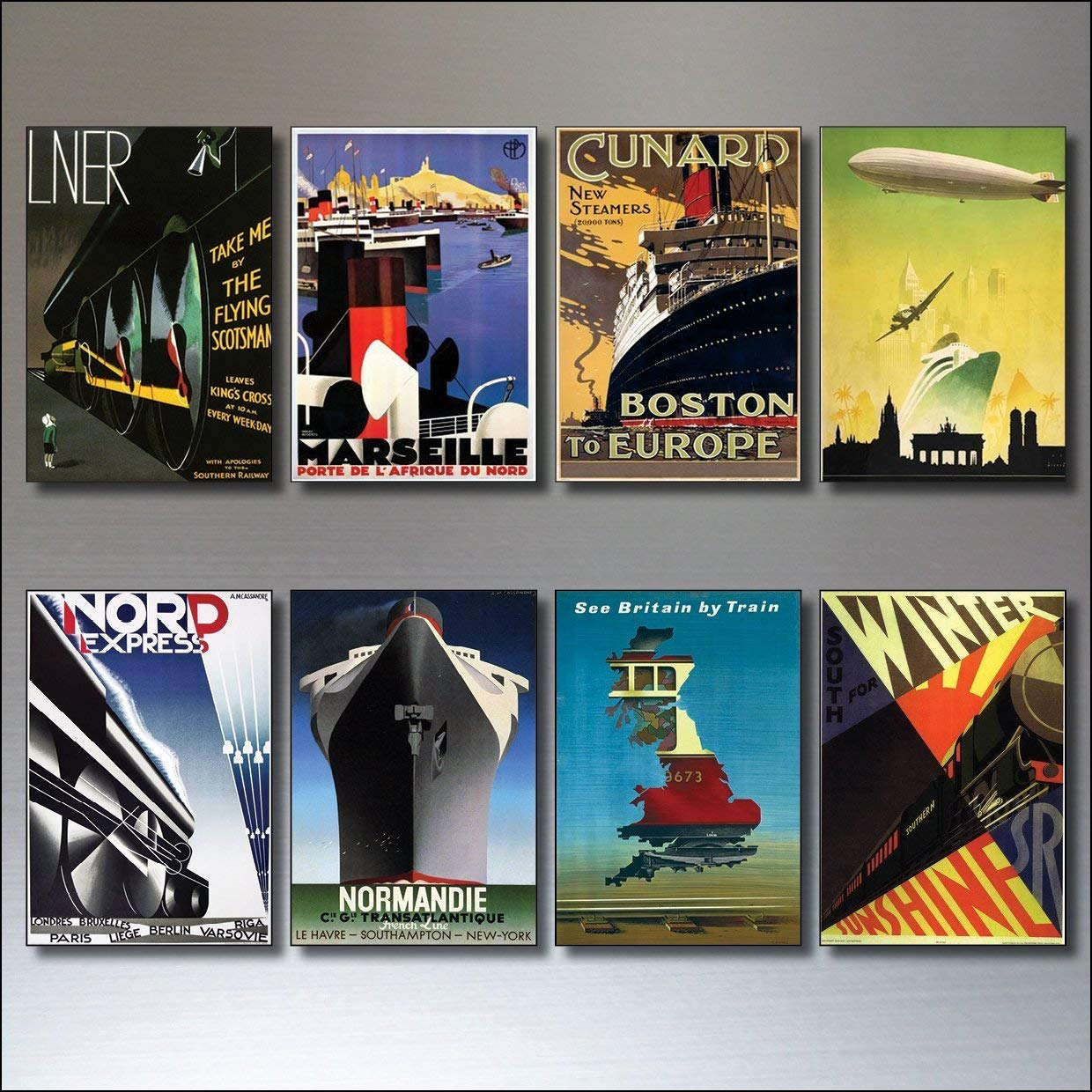 8 Vintage Travel Posters Fridge Magnets from Art Deco Period - Retro report No.1