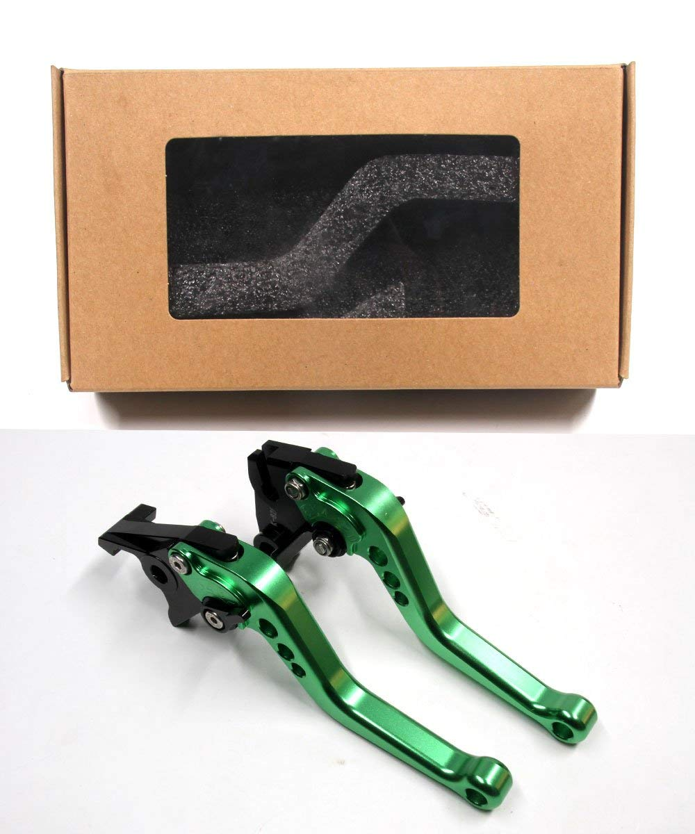 Short Brake Clutch Levers for Suzuki GSX1400 01-07,GSXR1300 99-07,SV1000/S 03-07,GSF1250 07-15,GSF1200 01-06,GSX1250 10-16,DL1000/V-STROM 02-17,GSX650F 08-15,GSF650 07-09,TL1000R 98-03 Green