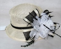 organza 100% sinamay fancy ladies women church suits and hats with feather