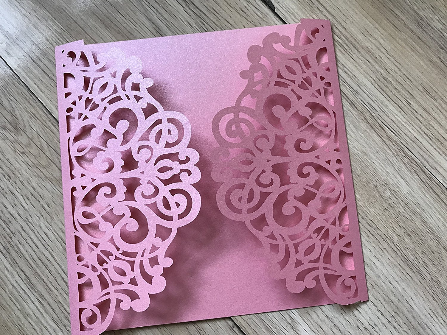 Pearl Pink Color Square Laser Cut Floral Invitation,Laser Cut Wedding Invitations,Elegant Invitations,Decorated Lace Paper Invites,50pcs