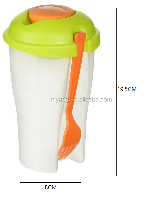 Salad Shaker   Travel Size Portable Salad Bowl With Built In Dressing  Holder Includes Detachable Reusable Fork   Buy Bpa Free Shaker Water  Bottle,Use This ...