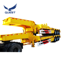 3 axles 60ton 40feet heavy duty low bed semi truck trailer lowboy trailer low loader trailers for sale