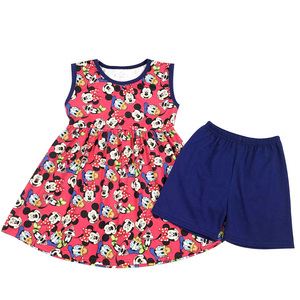 Hot summer children's clothing set sleeveless dress top with simple shorts
