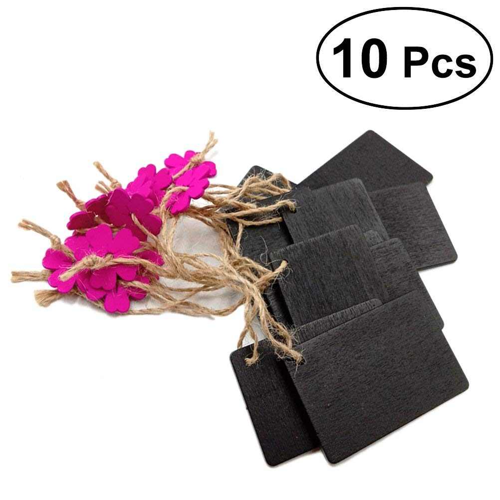 Healifty 10pcs Jute Rope Hanging Plaque Blackboard Tags Mini Wooden Chalkboard Signs for Wedding Party Kids Crafts (Rose Red Flower Color)