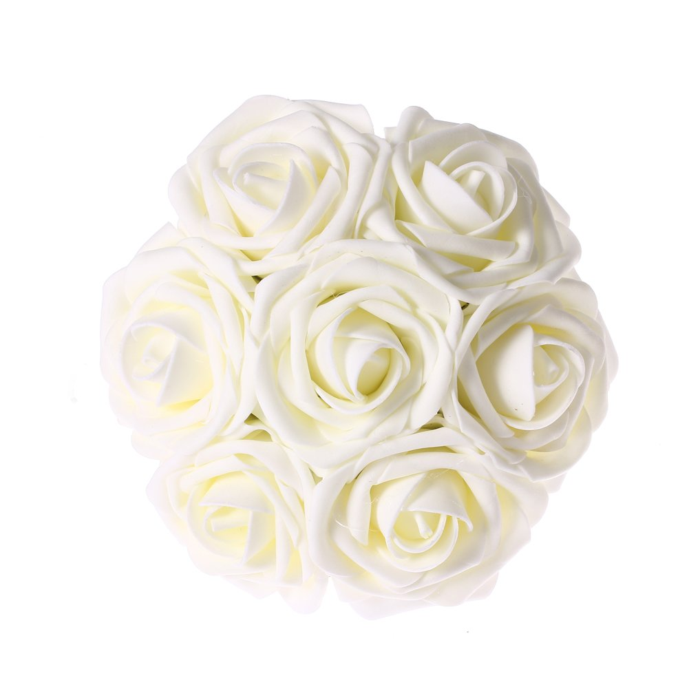 Buy Lings Moment Artificial Flowers Ivory Roses 50pcs Real Looking