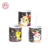 Most popular promotion ceramic mug porcelain and ceramic material heating color changing mug temperature change cup