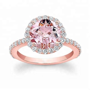 925 Sterling Silver Jewelry Round Cut Pink Cubic Zirconia Diamond Rose Gold and Engagement Halo Diamond Ring