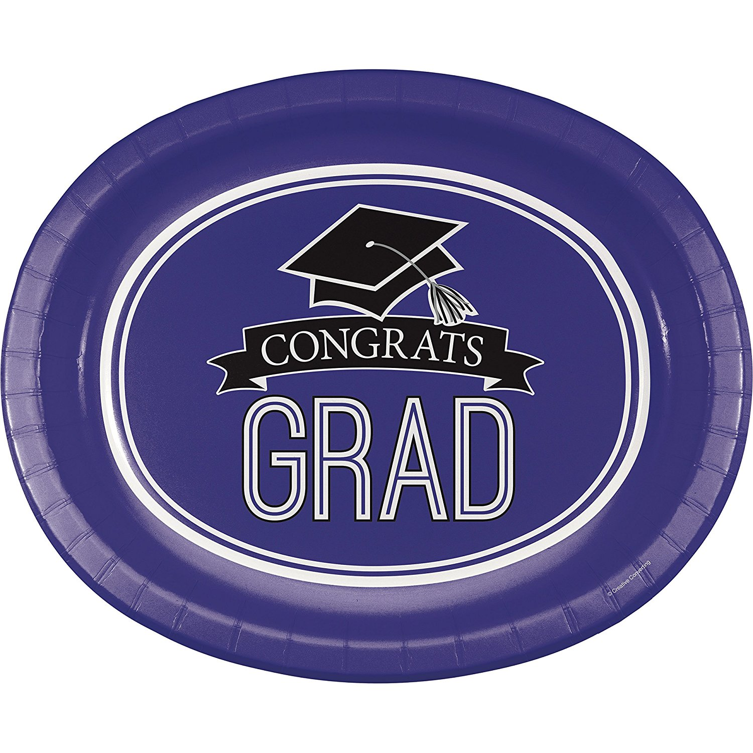 Graduation School Spirit Purple Oval Plates, 24 ct