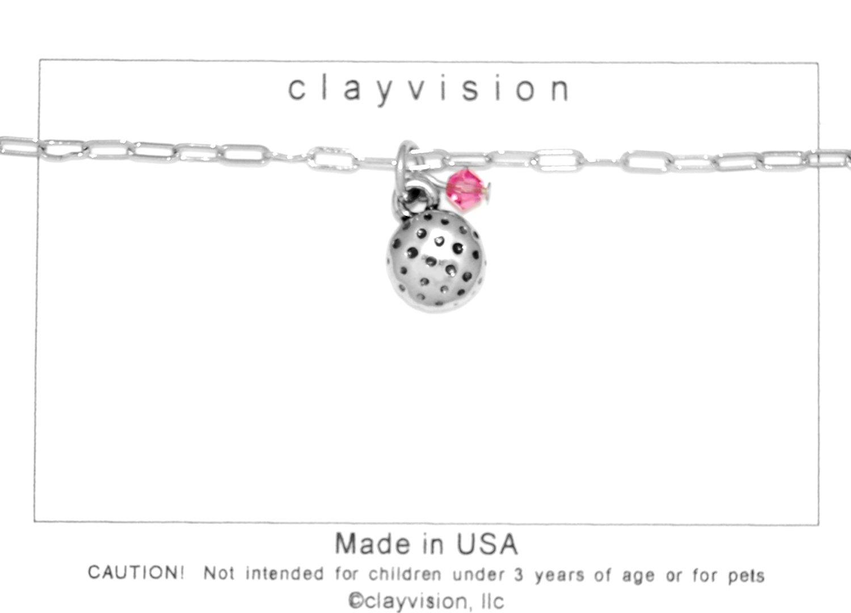 Clayvision Golf Ball (Flat) Charm Bracelet w/4mm Rose Colored Swarovski Crystal Pink October