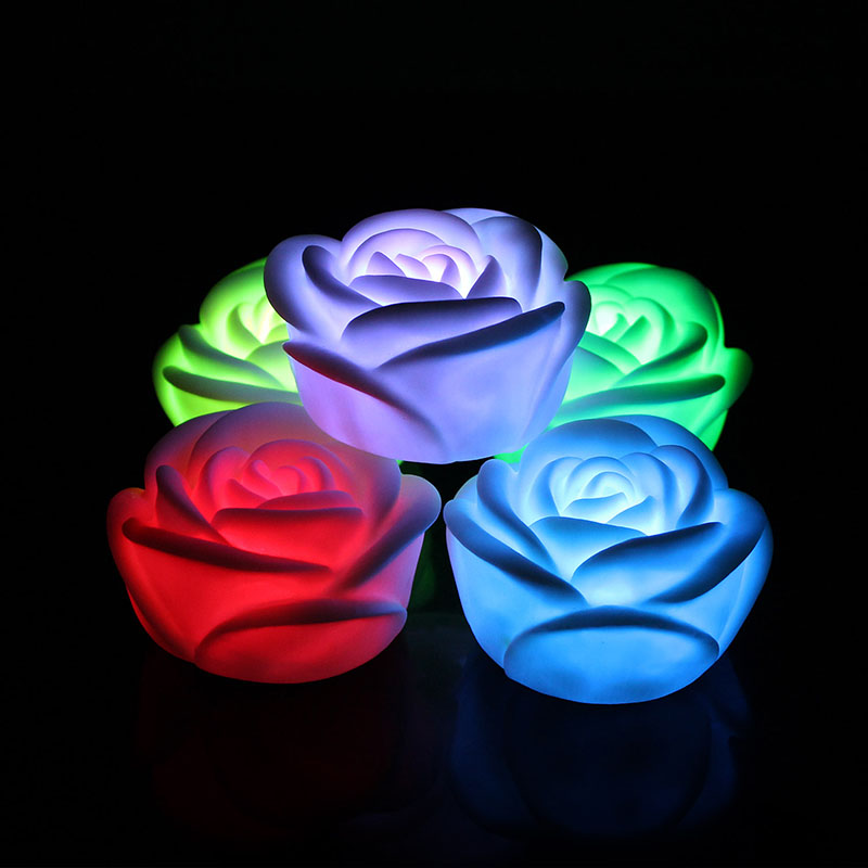Fancy Colorful Changing LED Rose Flower Romantic Wedding Decoration Party