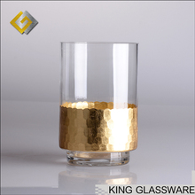 Wholesale new products handmade custom gold foil-stick hurricane jar glass candle holder