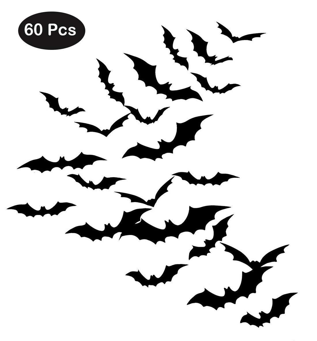 Zilbery 60 Pcs Halloween 3D Bats Halloween Party Supplies for Home Window Wall Decoration (Black)