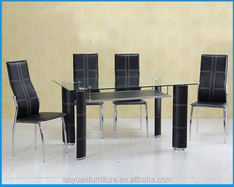 c196 schwarz leder beine geh rtetem glas esstisch set buy product on. Black Bedroom Furniture Sets. Home Design Ideas