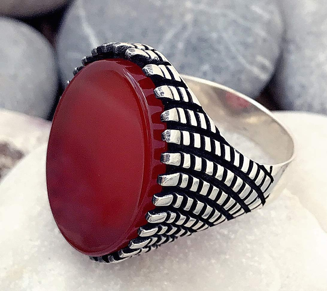 Handmade 925 Sterling Silver Natural Red Agate Stone Men's Woman's Ring #V4