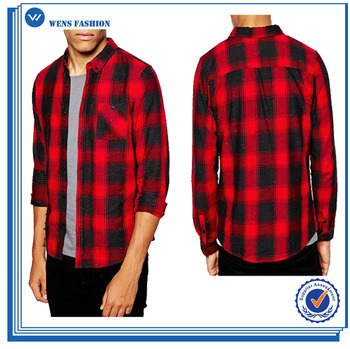 Cool mens quality long sleeve woven flannel red black for Places to buy flannel shirts