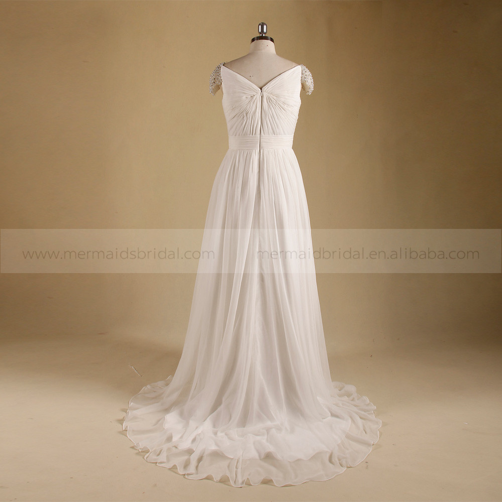 High quality chiffon civil summer simple ivory wedding for Real simple wedding dresses