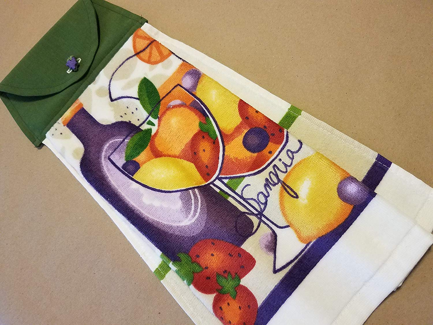 Sangria Hanging Kitchen Towel, Wine and Fruit Button Top Dish Towel, Gifts Under 20, Hostess GIft, Housewarming Gift, Summer Kitchen Linens, Wine Lovers, Wino Gifts
