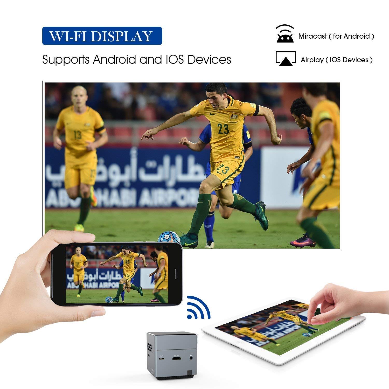 DLP Projector ขนาดเล็กแบบพกพาโปรเจคเตอร์รองรับ 1080p Pico LED คุณภาพระดับ HD แบบชาร์จไฟได้พร้อมลำโพงและ Micro SD การ์ด
