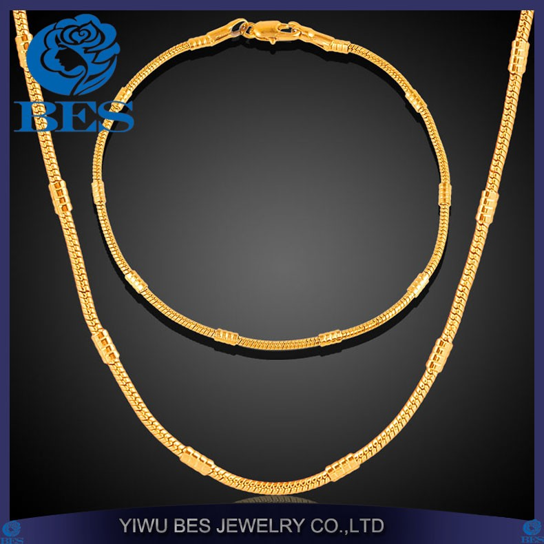 Gold Necklace Set 18k Stamp Dubai Gold Plated Necklace Bracelet