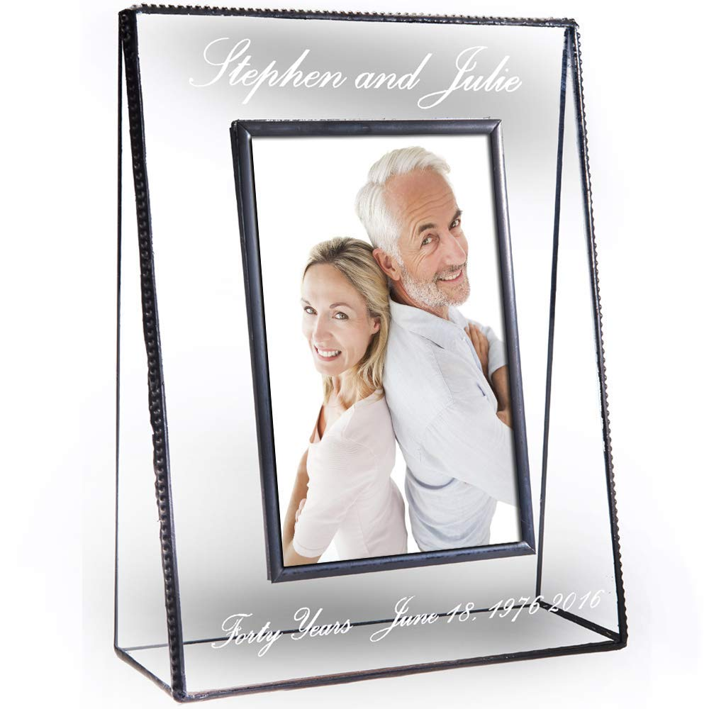 J Devlin Pic 319-57V EP553 Personalized Anniversary Picture Frame Tabletop 5 x 7 Vertical Photo Frame Engraved Glass Keepsake Gift