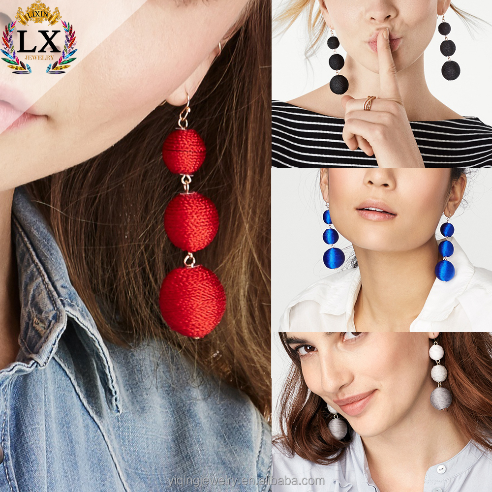 EYQ-00596 2017 fashion multi color gradient three ball handmade tassel earring drop dangling custom thread ball earrings <strong>jewelry</strong>