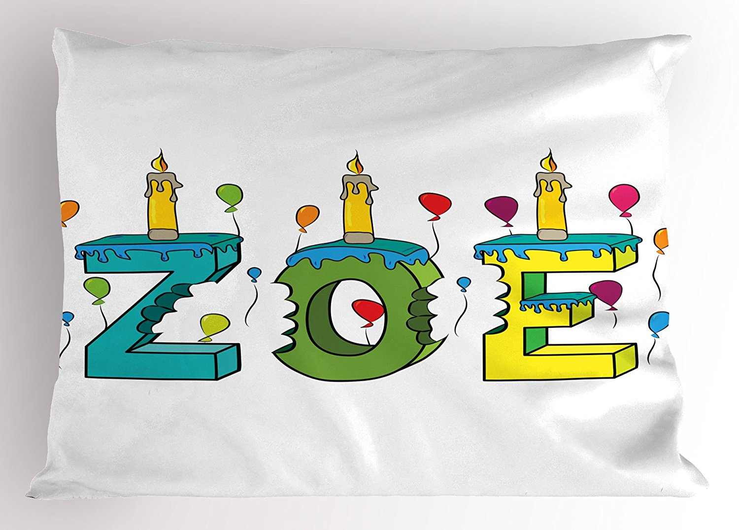 Zoe Pillow Sham by Ambesonne, Colorful Festive Social Gathering Themed Girl Name Design with Birthday Candles Pattern, Decorative Standard King Size Printed Pillowcase, 36 X 20 Inches, Multicolor
