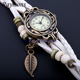 Vintage style various pendant braid leather strap wrist women timepiece